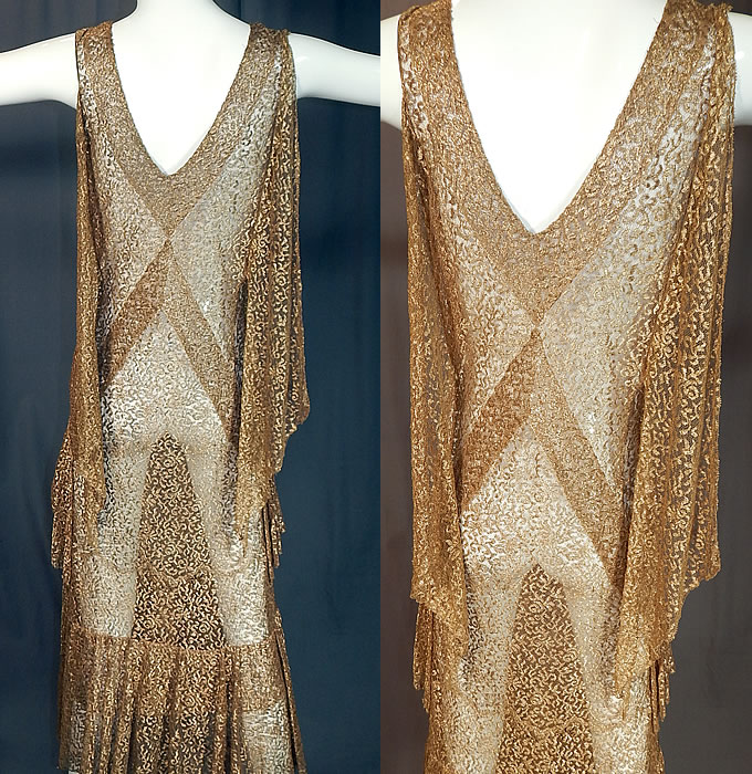 Vintage Art Deco Gold Metallic Lamé Lace Bias Cut Evening Gown Dress