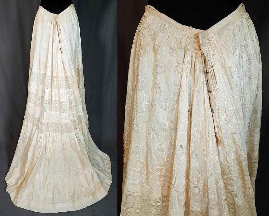 b63365ff0 Edwardian Cream Cotton Silk Damask Drawn Cutwork Lace Wedding Skirt Train  Back The skirt measures 40
