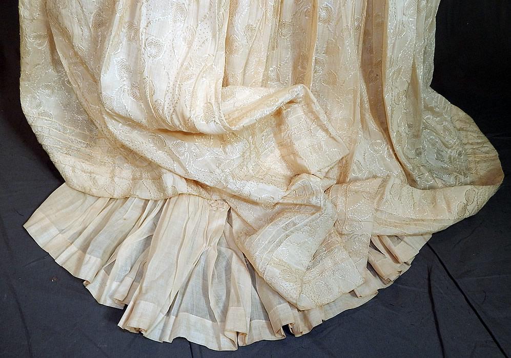 df76af72f Edwardian Cream Cotton Silk Damask Drawn Cutwork Lace Wedding Skirt Train  Back This is truly a