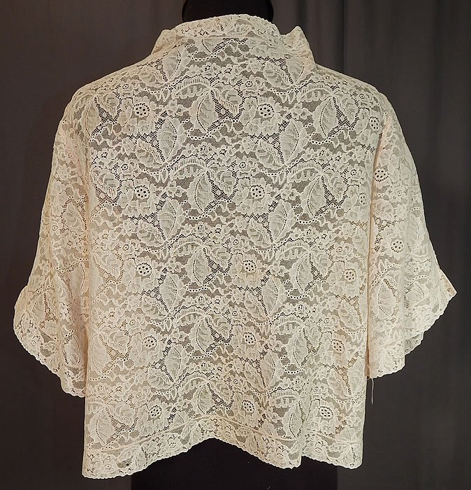 Vintage Forget Me Not Rosette Trim Cream Lace Cropped