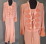Vintage Art Deco Old Rose Pink Silk Crepe de Chine Appliquéd Belted Bias Cut Dress