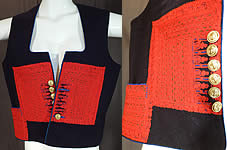 Vintage Antique Macedonian Folk Costume Embroidered Woolen Vest Top