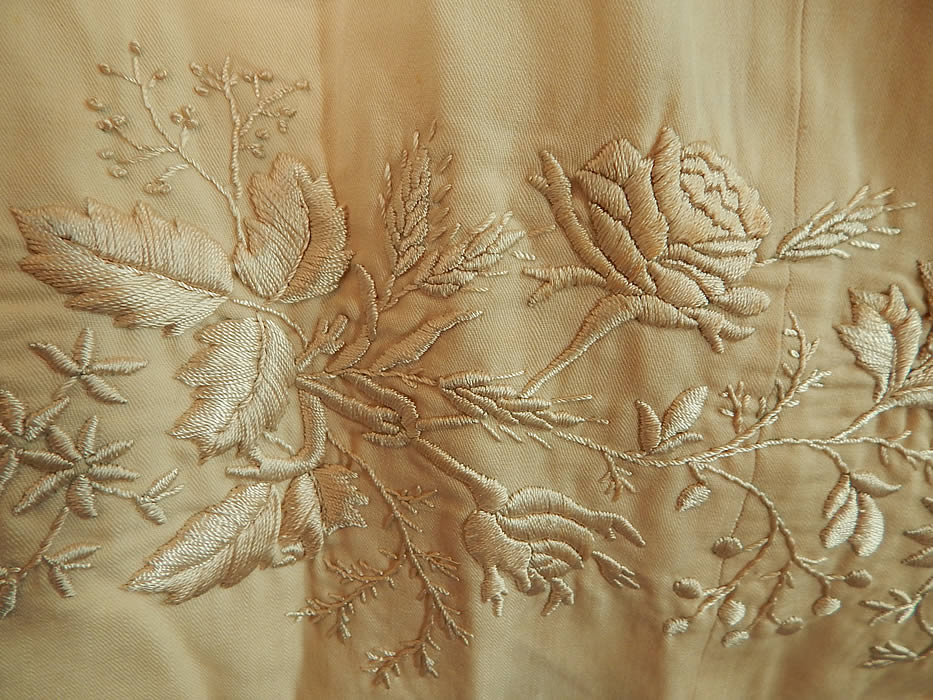 Victorian Cream Wool Embroidered Roses Fringe Bridal Wedding Shawl Scarf Stole Wrap