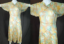 1930s Vintage Yellow Tulip Flower Print Silk Shawl Collar Cape Bias Cut Dress