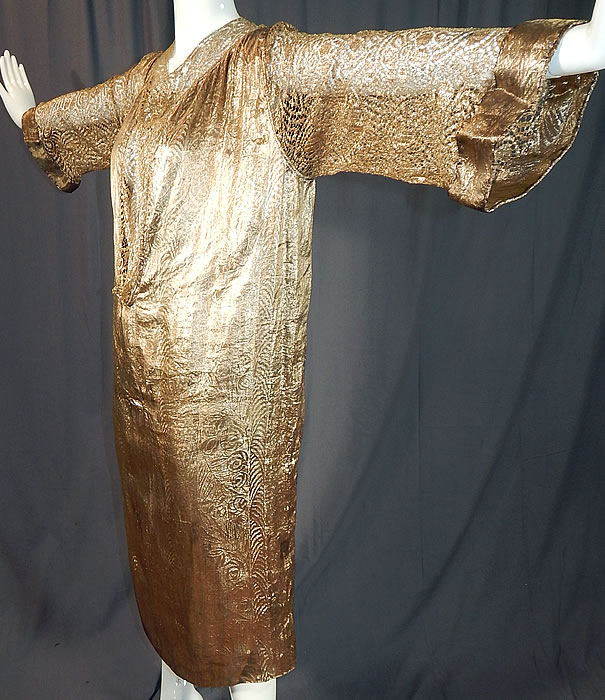 Vintage Art Deco Gold Lamé Lame Lace Belted Sash Scarf Shift Kaftan Flapper Dress