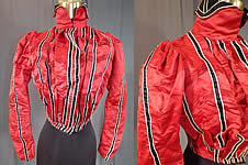 Victorian Vintage Red Silk Black & White Striped Pleated Bodice Blouse