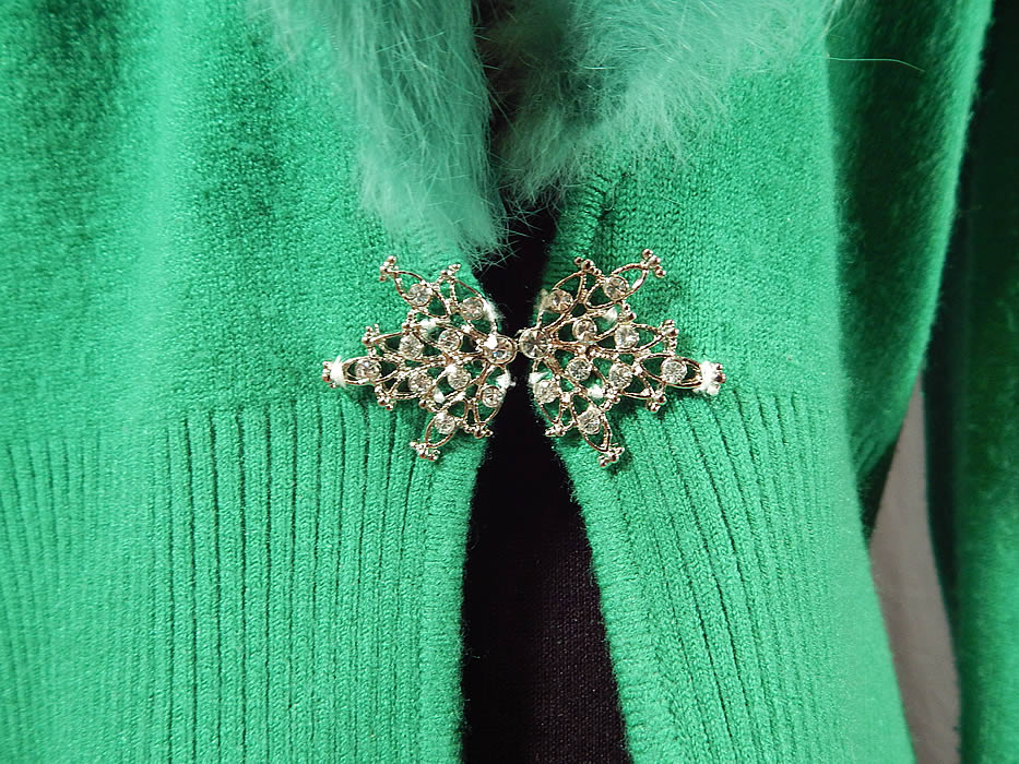 Vintage Kelly Green Knit Cardigan Sweater & Rabbit Fur Collar Trim