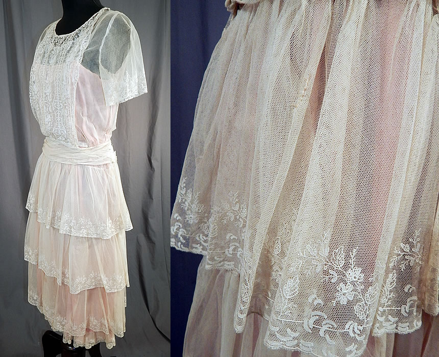 Vintage White Net Brussels Applique Duchesse Bobbin Lace Pink Silk Slip Dress