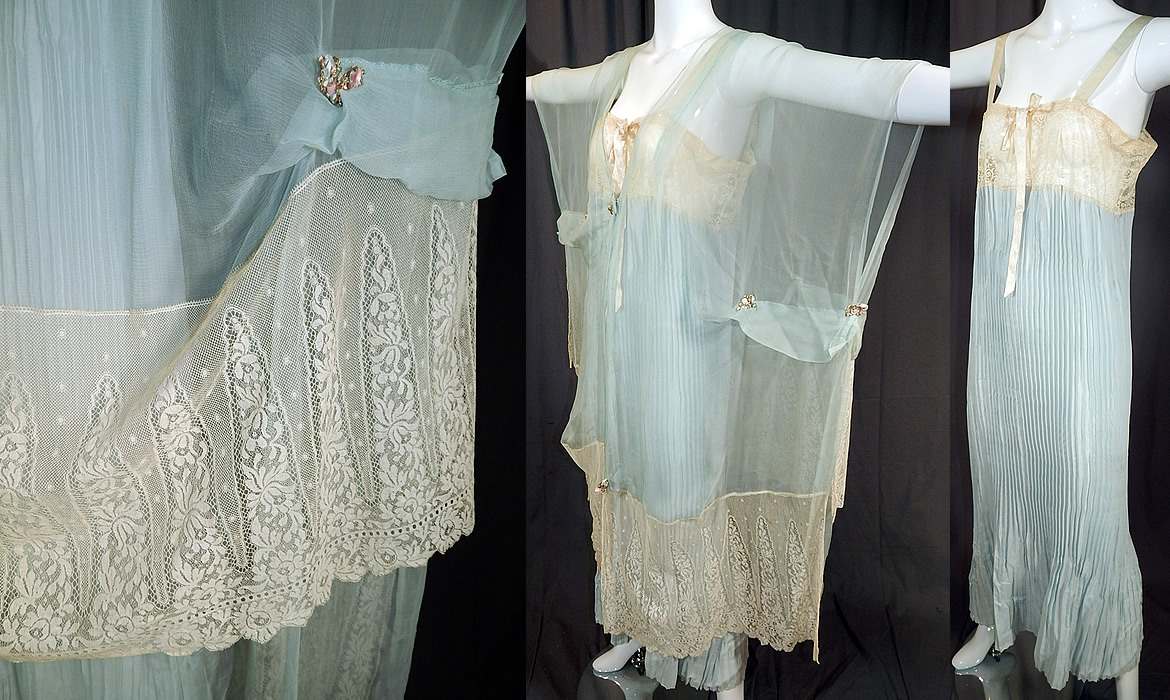 Vintage Blue Silk Chiffon Lace Rosette Peignoir Negligee Nightgown & Robe
