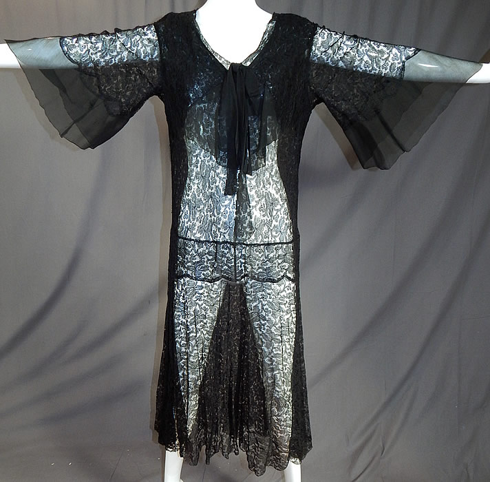 Vintage Sheer Black Silk Chiffon & Lace Drop Waist Kimono Sleeve Flapper Dress