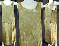 Vintage Art Deco Chartreuse Gold Lamé Lame Silk Damask Drop Waist Flapper Dress