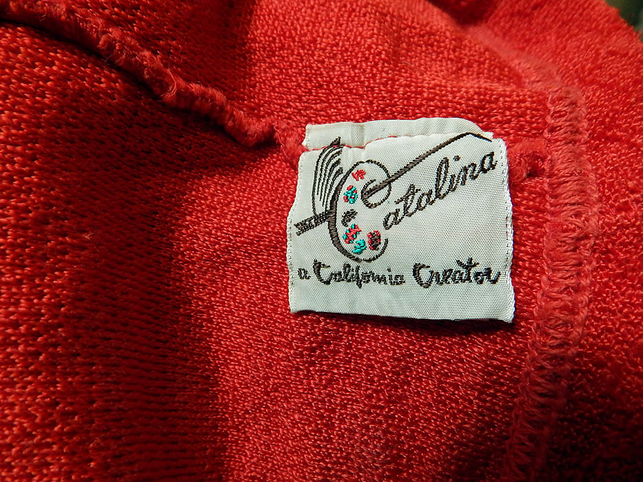 Vintage Catalina Red Rayon Knit Two Piece Pinup Bikini Bathing Suit Swimsuit