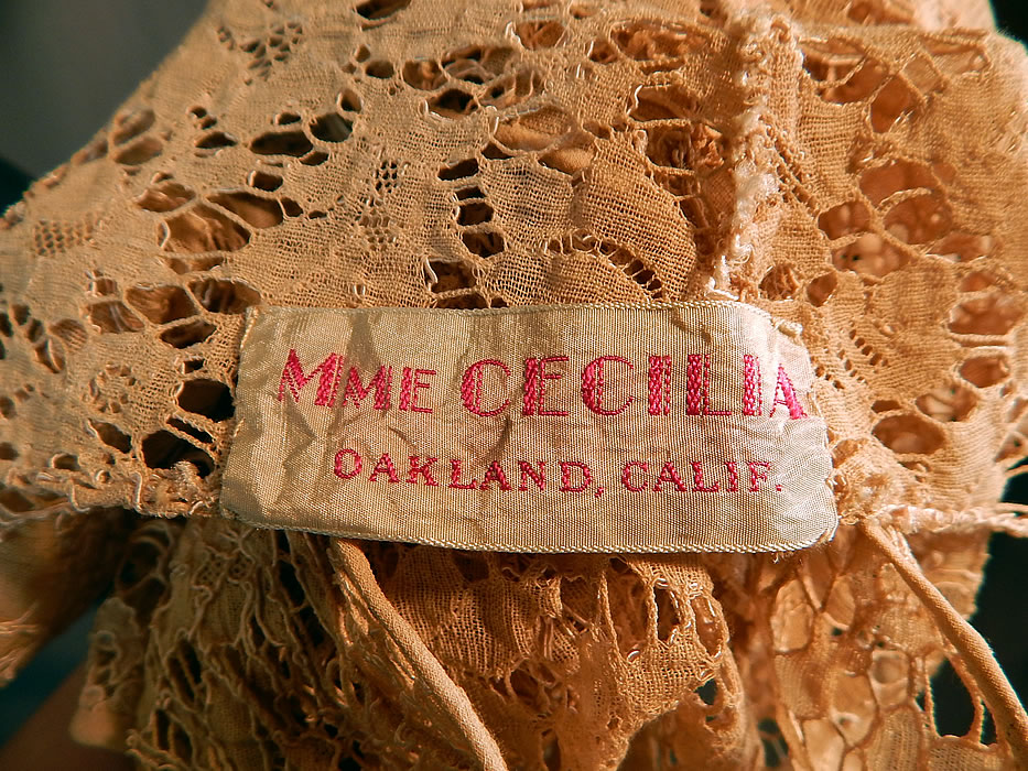 Vintage Mme Cecilia Label Cream Bretonne Needle Lace Shirt Blouse Top