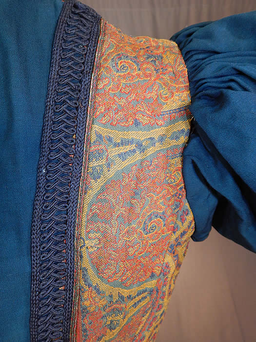 Victorian A.E. Parsons Boston Paisley Brocade Navy Blue Wool Gigot Mutton Sleeve Bodice