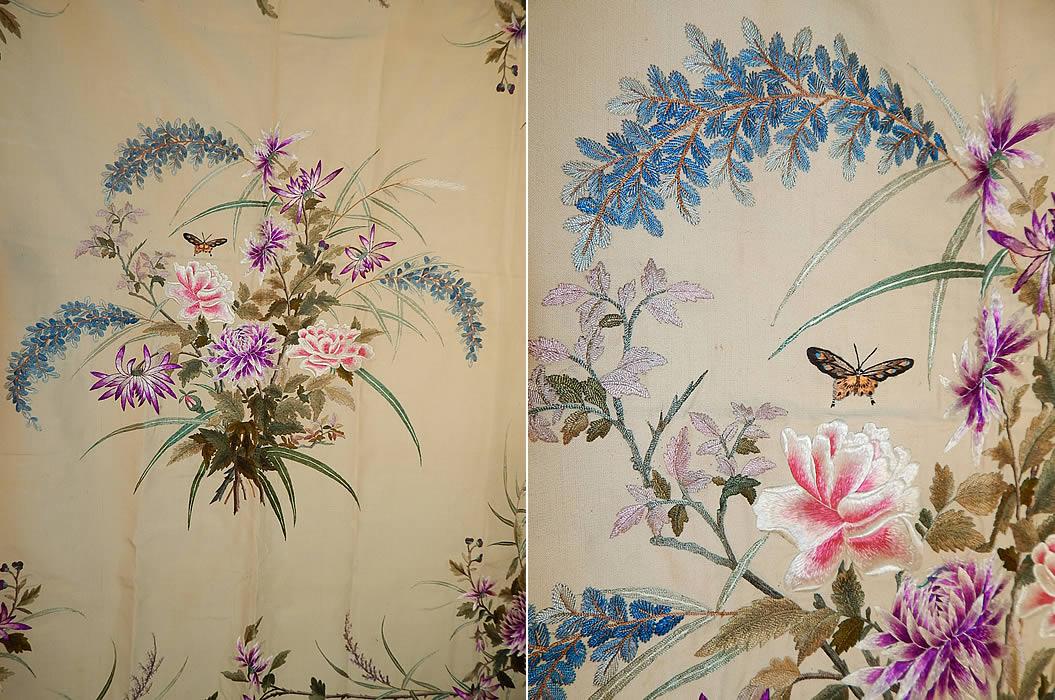 Antique Chinese Vietnamese Saigon Butterfly Floral Silk