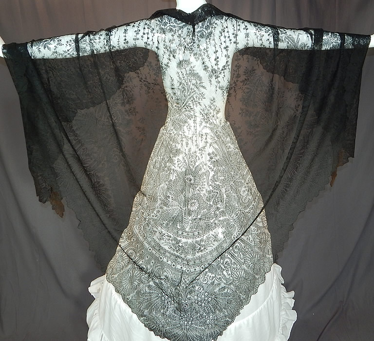 Victorian Civil War Antique Black Chantilly Lace Large ...