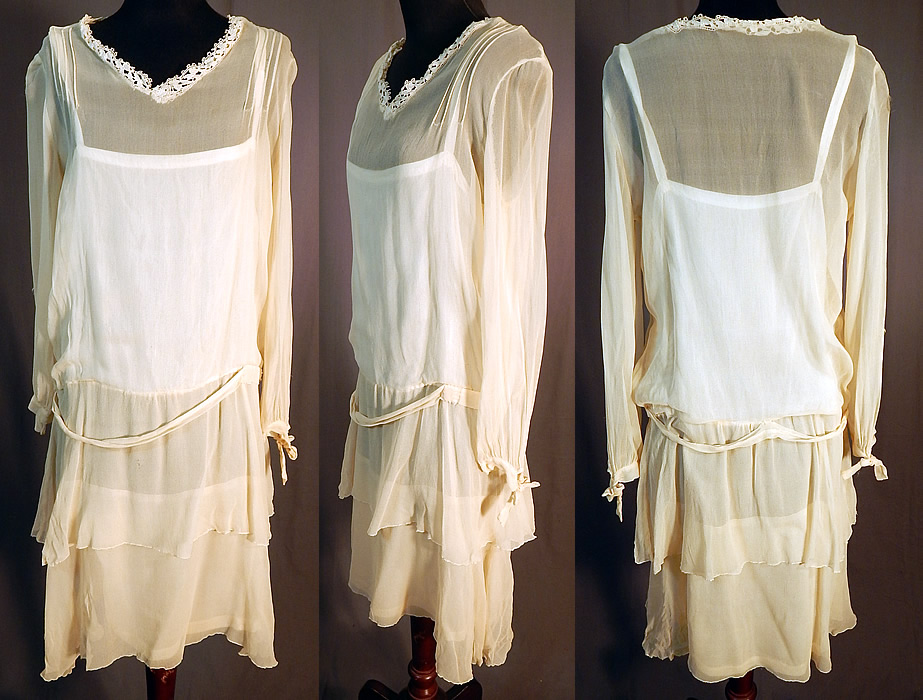 Lady Angel Free Shipping Short Beige Chiffon Bridesmaid: Vintage Cream Silk Chiffon Lace Trim Tiered Ruffle Skirt