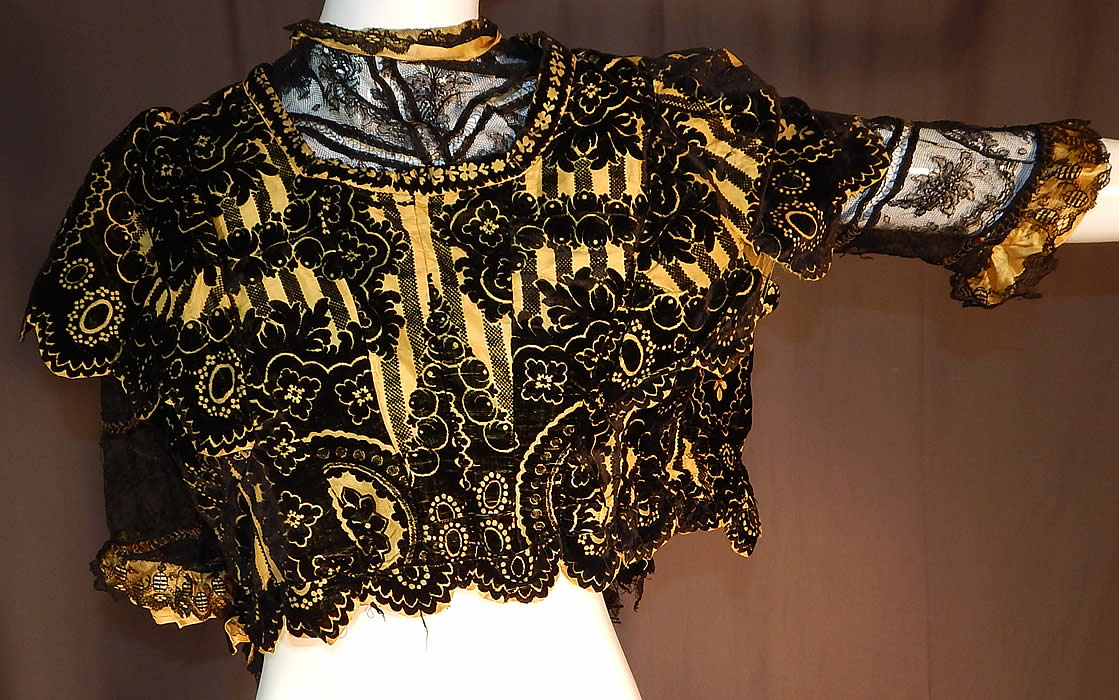 Victorian Yellow Silk Black Burnout Voided Velvet Devore Chantilly Lace Bodice