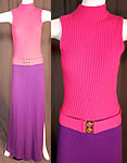 Vintage Kingston Knits by Cesia California Pink & Purple Knit Belted Mod Maxi Dress