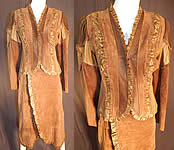 Vintage Gossamer Wings Brown Suede Leather Patchwork Dress Jacket Wrap Skirt