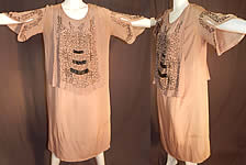 Vintage Art Deco Fleshy Pink Ecru Silk Steel Cut Beaded Tabard Top Flapper Dress
