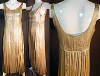 Vintage Art Deco Silver Lamé Lame High Empire Waist Long Evening Gown Slip Dress