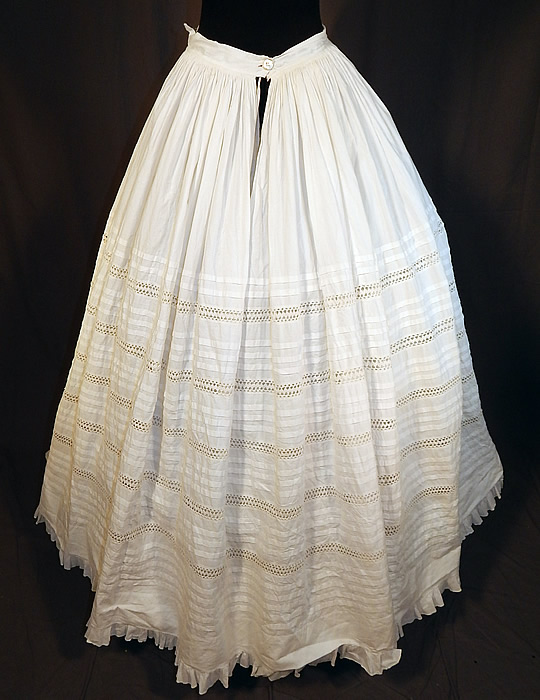 Victorian White Cotton Crochet Drawnwork Pleated Petticoat Full Hoop Skirt