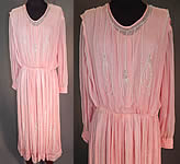 Vintage Pink Pastel Silk Chiffon Crystal Beaded Tear Drop Evening Gown Dress