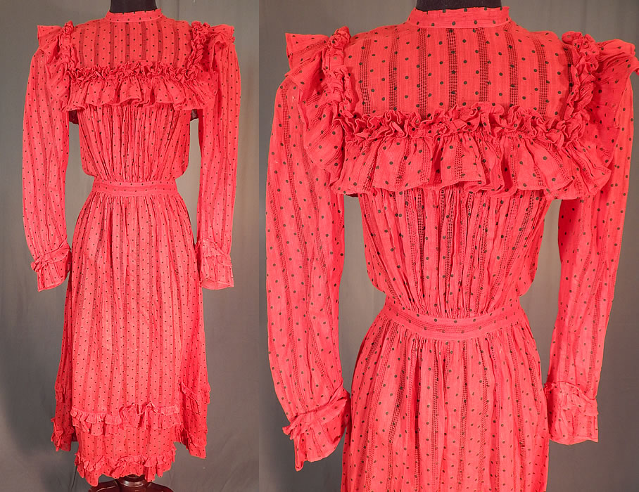 Victorian Red Cotton Calico Black Polka Dot Ruffle Yoke Girls Youth Dress