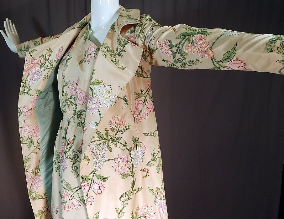 Vintage Pastel Painted Floral Bird Silk One Shoulder Gown Dress & Long Coat