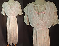 Edwardian Titanic Pink Pastel Moire Pattern Print Striped Batiste Lace Dress