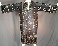 Vintage Art Deco Egyptian Assuit Shawl Black Net Silver Studded Kaftan Dress