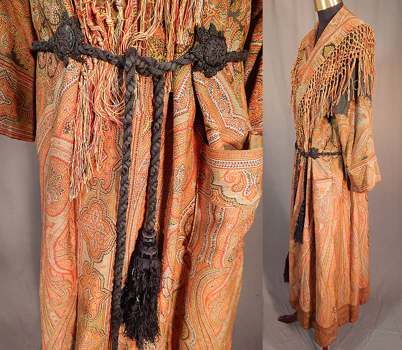 Victorian Antique Wool Paisley Shawl Collar Belted Robe Morning ...