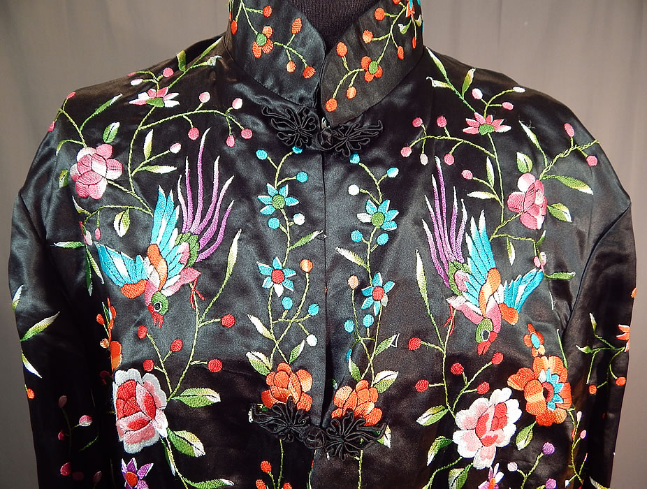 Vintage plum blossoms chinese black silk colorful floral