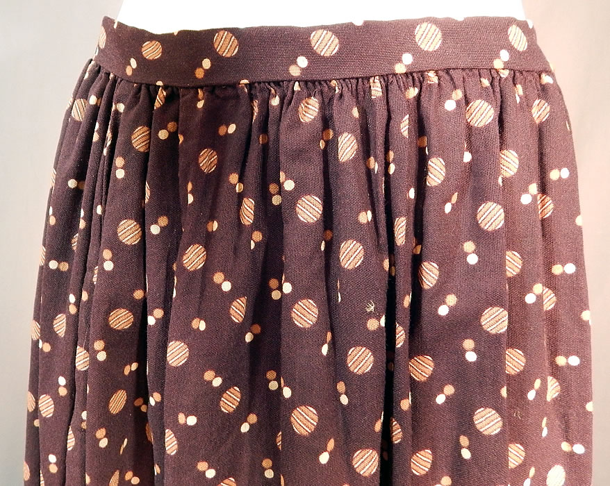 Victorian Brown Circle Polka Dot Print Fine Wool Winter Petticoat Skirt