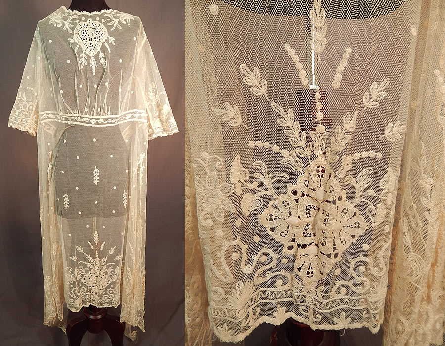 Vintage Germany Cream Tulle Net Tambour Embroidery Lace Unused Dress