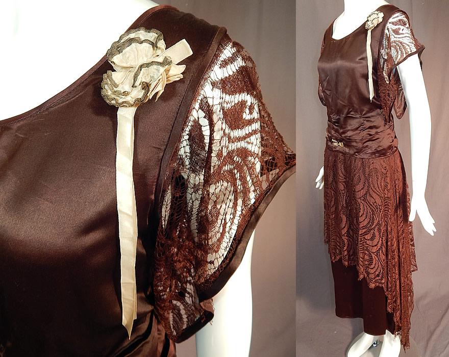 Brown lace handkerchief dress