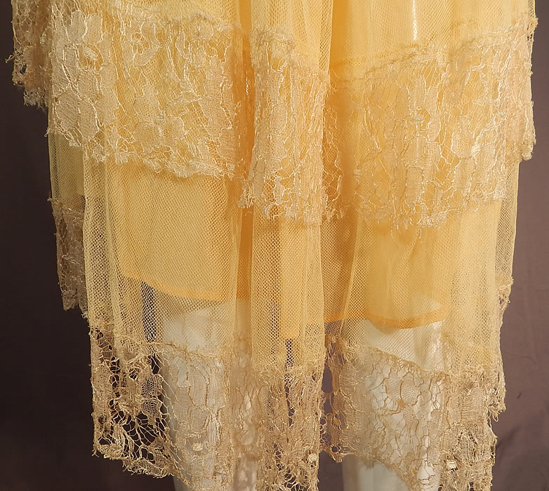 Vintage Art Deco Yellow Silk Cobweb Lace Handkerchief Skirt Flapper Dress