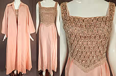 Vintage Victoria Royal Hong Kong Pink Silk Crystal Beaded Evening Gown & Coat
