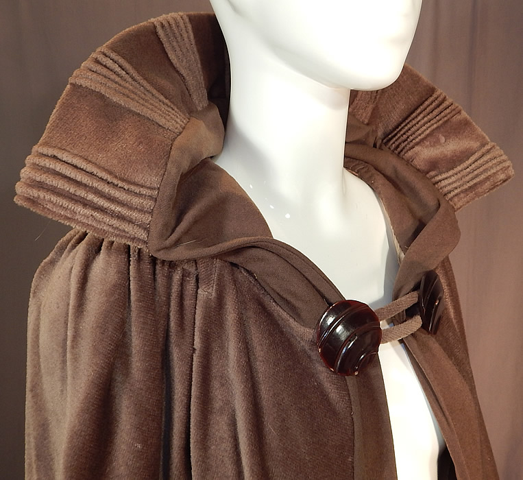 Vintage Art Deco Khaki Brown Mohair Wool Winter Shawl Collar Cloak Cape