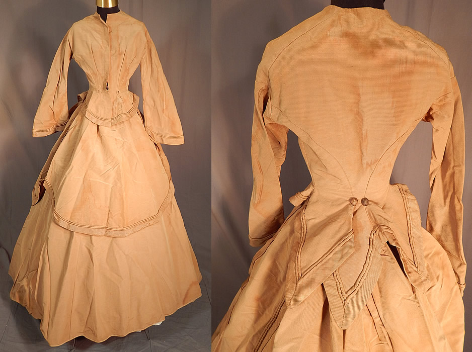 Victorian Khaki Brown Silk Wool Grosgrain Bustle Gown Hoop Skirt Dress