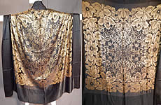 Vintage Art Deco Black Silk Gold Lamé Lame Flapper Cloak Cape Shawl Scarf