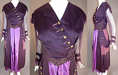 Edwardian Titanic Era Plum Purple Gold Embroidered Evening Gown Dress