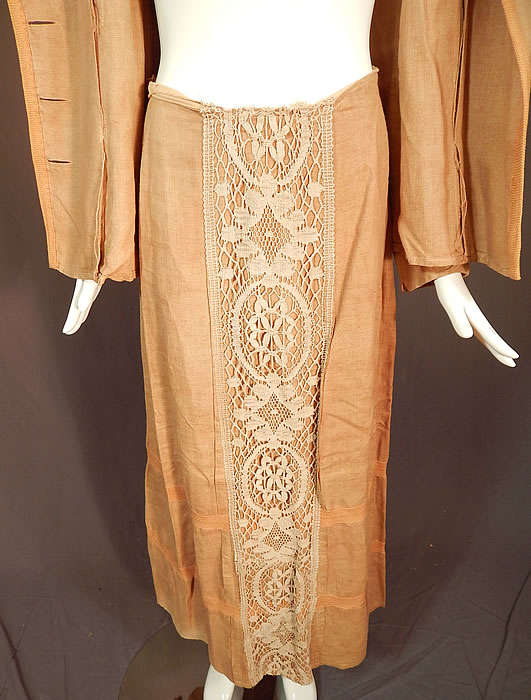 Edwardian Ecru Beige Linen Cream Cluny Lace Walking Suit Jacket Skirt