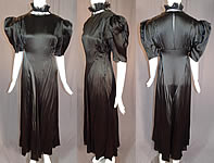 Vintage Black Silk Charmeuse Lace Ruffle High Collar Bias Cut Cocktail Dress