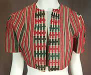 Vintage Ethnic Embroidered Woven Red Short Cropped Boho Bolero Jacket Shrug