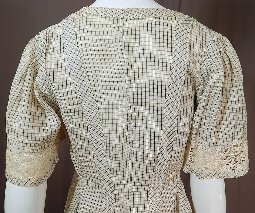 Edwardian Black & White Check Linen Cluny Lace Walking Suit Jacket Tailcoat Skirt