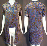 Vintage Art Deco Taupe & Blue Burnout Voided Velvet Grape Leaf Devore Dress