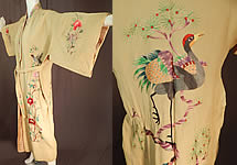 Vintage Chinese Yellow Silk Colorful Embroidered Duck Bird Belted Kimono Robe