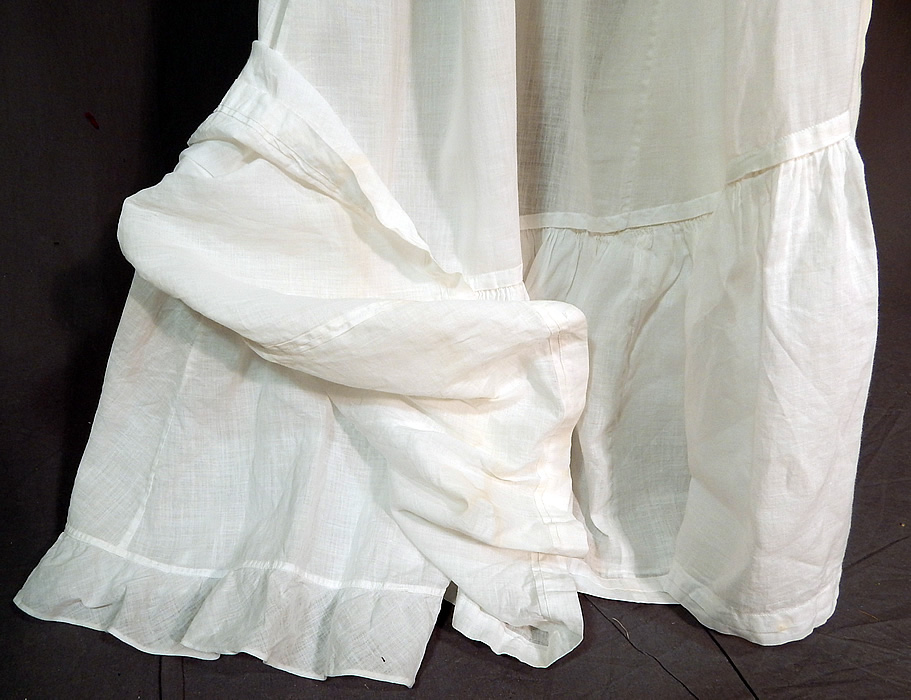 Victorian White Cotton Batiste Ruffle Back Train Wedding Skirt Petticoat